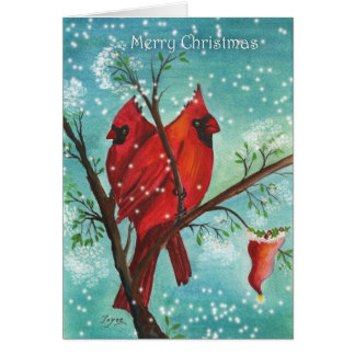 Christmas greetings with Red cardinals! Card