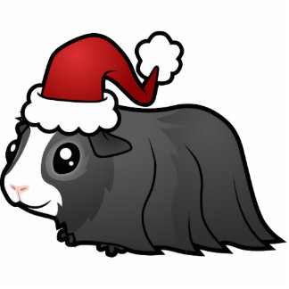 Christmas Guinea Pig Ornament (long hair) Photo Sculpture Decoration