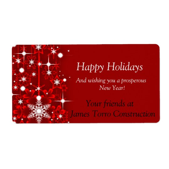Christmas, Happy Holidays Wine Label Shipping Label