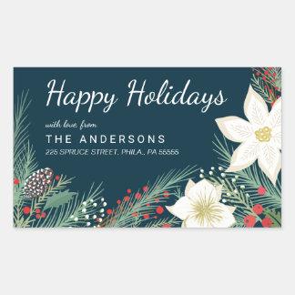 Christmas Holiday Poinsettia & Pine Return Address Rectangular Sticker