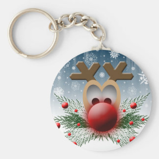 Christmas Holiday Reindeer Basic Round Button Key Ring