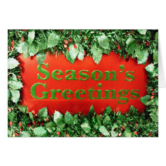 Christmas Holiday Seasons Greetings Glitter Holly Cards