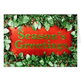 Christmas Holiday Seasons Greetings Glitter Holly Greeting Card