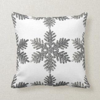 Christmas Holiday Silver Snowflake Star Design Cushion