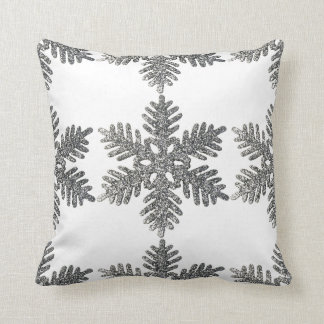 Christmas Holiday Silver Snowflake Star Design Throw Pillow