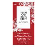 Christmas Holiday Snowflake - Red Photo Card