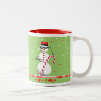 Christmas Holiday Snowman Two-Tone Coffee Mug