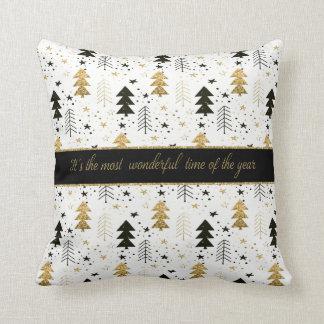 Christmas Holiday - Trees and Snowflakes Cushion
