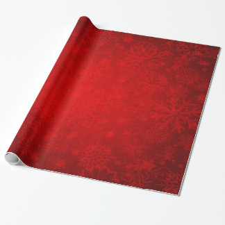 Christmas Holiday - Vibrant Red with Snowflakes Wrapping Paper