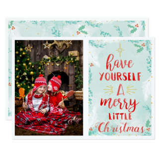 Christmas Holiday -Watercolor Merry lil Xmas PHOTO Card