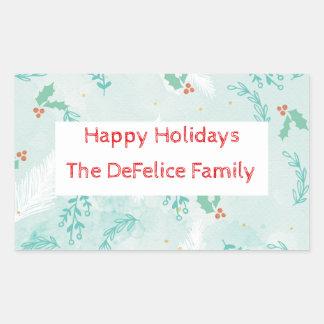 Christmas Holiday - Watercolor Xmas Floral2 Rectangular Sticker