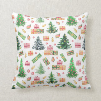 Christmas Holiday - Watercolor Xmas Fun Cushion
