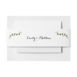 Christmas Holiday Wedding Invitation Packets Invitation Belly Band