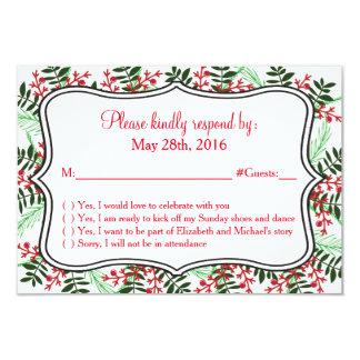 Christmas, Holiday Wedding RSVP Response Card 9 Cm X 13 Cm Invitation Card