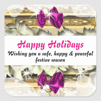 Christmas holiday winter snow pink square sticker