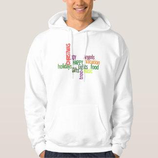 Christmas Holidays Typographic Words Design Hooded Sweatshirt