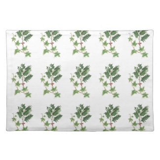Christmas Holly and Ivy Sprig in Botanical Waterco Placemat