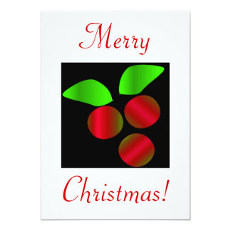 "Christmas Holly V 5"" X 7"" Invitation Card"