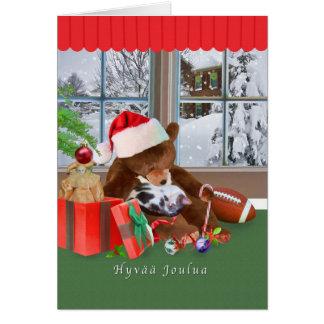 Christmas, Hyvää Joulua, Finnish, Cat, Teddy Bear Greeting Card