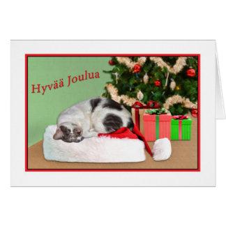 Christmas, Hyvää Joulua, Finnish, Sleeping Cat Greeting Card