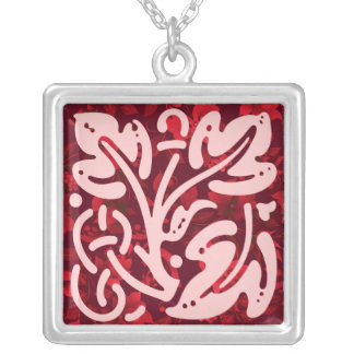 Christmas in Bali Batik 1 Ornament Silver Plated Necklace