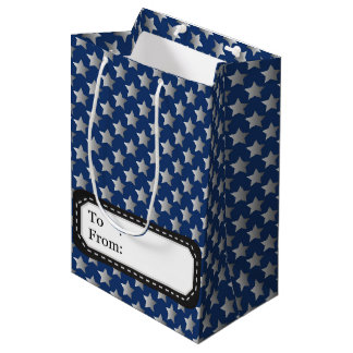 Christmas in blue & silver medium gift bag