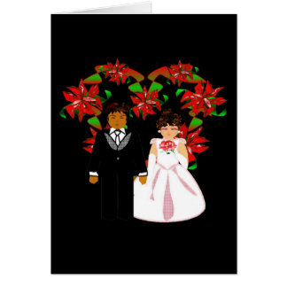 Christmas Interracial Wedding Couple Heart Wreath Cards