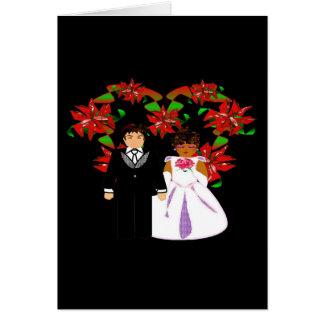 Christmas Interracial Wedding Couple Heart Wreath Note Card