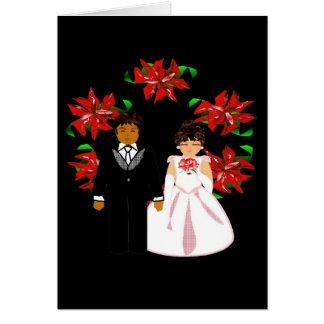 Christmas Interracial Wedding Couple With Wreath I Cards