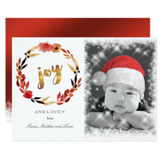 Christmas Joy Watercolor Wreath ID292 Card