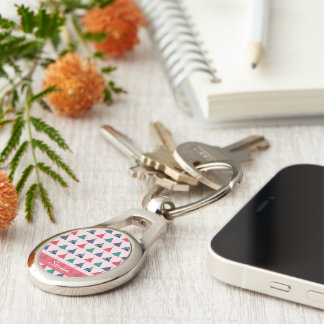 Christmas Keychain Silver-Colored Oval Key Ring
