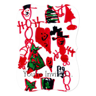 Christmas Kids Drawing Snowmen and Hearts 13 Cm X 18 Cm Invitation Card