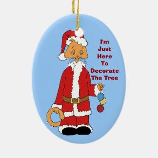 Christmas Kitty Helper Christmas Ornament