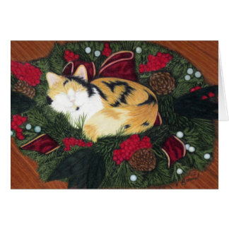 Christmas Kitty Season's Greetings Holiday Card