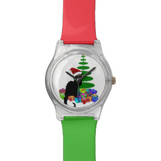 Christmas Le Chat Noir With Santa Hat Watch
