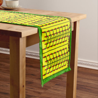 Christmas Light Trees with packages Long Table Runner