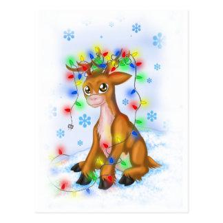 Christmas Lights Reindeer Postcard