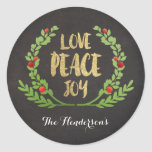 CHRISTMAS LOVE PEACE JOY WREATH STICKERS