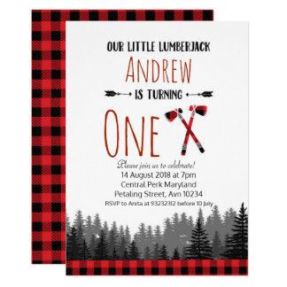 Christmas Lumberjack Birthday Woodland Invitation