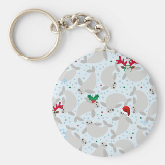 christmas manatee key ring