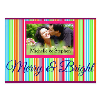 Christmas Merry and Bright Greetings Photo Card 13 Cm X 18 Cm Invitation Card