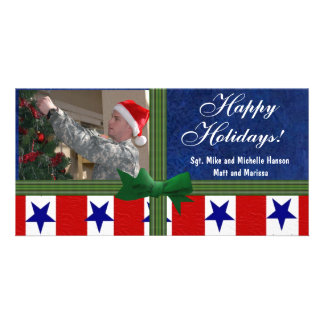 Christmas Military Patriotic Custom Custom Photo Card
