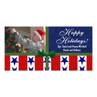 Christmas Military Patriotic Custom Photo Greeting Card