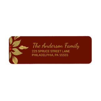 Christmas Modern Gold Poinsettia Return Address