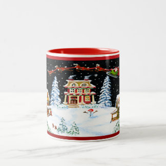 "Christmas mug ""Ho,Ho,Ho"" with Santa and reindeer"