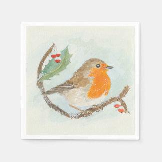 Christmas Napkins - European Robin Disposable Napkins