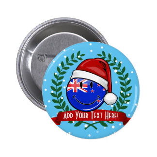 Christmas New Zealand Style Smiling Flag 6 Cm Round Badge