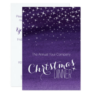 Christmas night sky stars party invitation purple