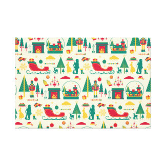Christmas nut-cracker pattern stretched canvas print