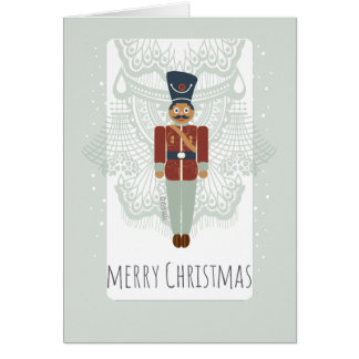 Christmas nutcracker soldier vintage lace and toy card